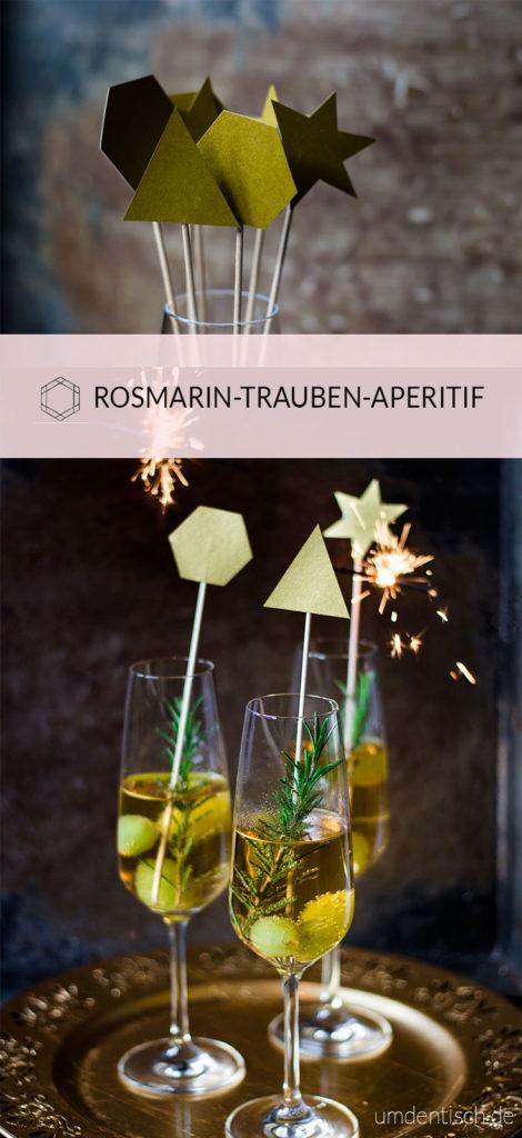 Helle Traube, Ginger Ale, Rosmarin und Gin bilden eine perfekte Kombination aus Aromen für diesen wunderschönen goldenen Aperitif #aperitif #gin #rosmarin #silvester #drink #cocktail #rezept #footphotography #newyearseve #traube