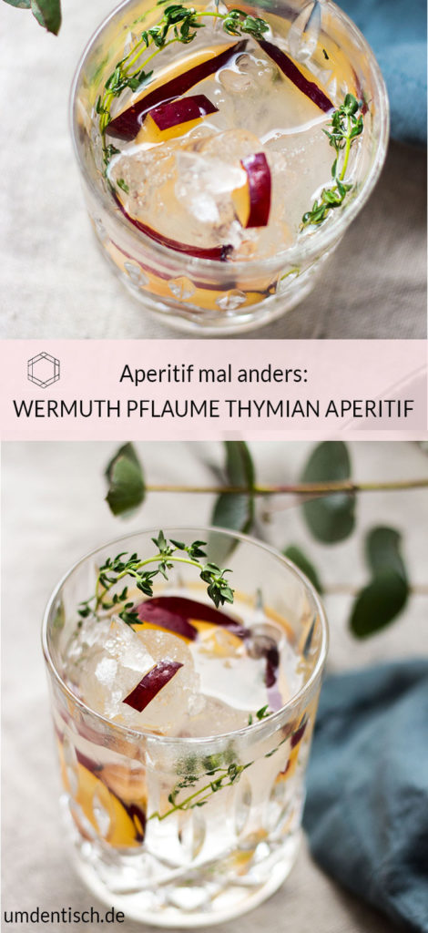 Der süßliche Wermuth, das bittere leicht Tonic-Water, die Aromen von Thymian und Pflaume und spritzig-säuerliche Zitrone machen den Drink so lecker, dass es sicher nicht bei einem Aperitif bleibt. Das Rezept für den Aperitif findet ihr auf meinem Blog (umdentisch.de) #aperitif #rezept #aperitivo #pfluame #thymian